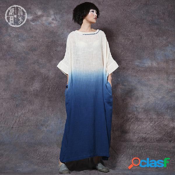 Robe rétro ample en lin coton brodé