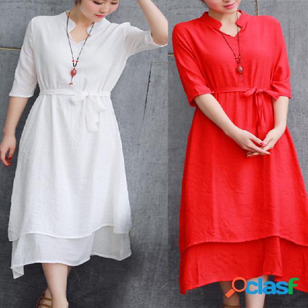 Robe longue classique en lin et coton