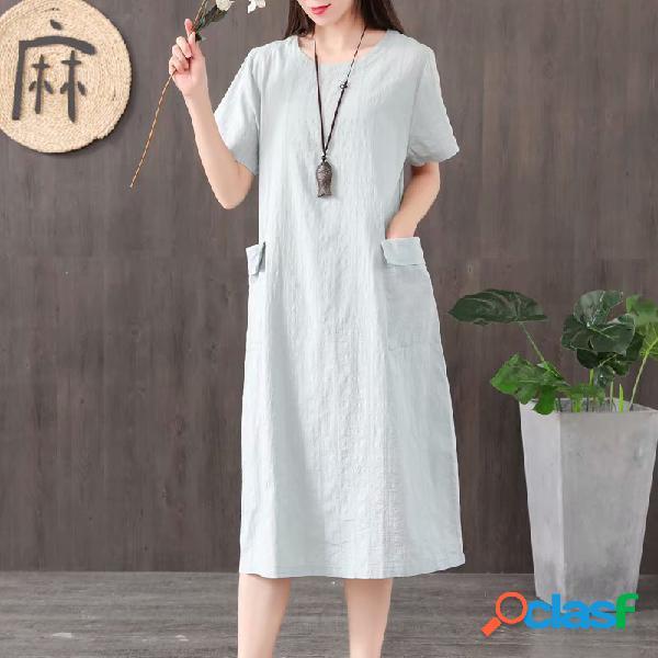 Robe ample en lin et coton à poche à carreaux