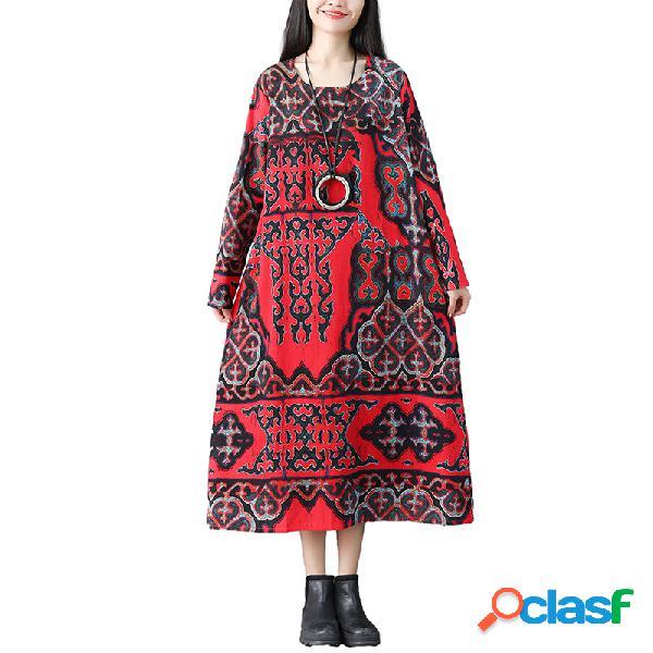 Robe longue en lin en coton à grande taille à manches longues