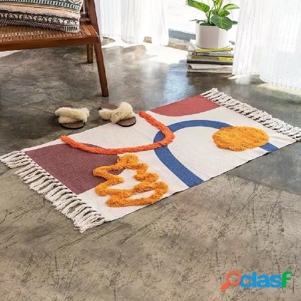 Bohême coton et lin tapis de sol tapis de sol tapis en coton moderne nordique zone géométrique tapis maison tapetes salon décoration tapis de sol tapis de porte