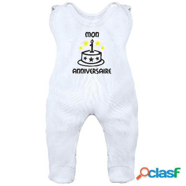 Grenouillère bébé à personnaliser: mon 1˚ anniversaire - blanc 0-1 mois
