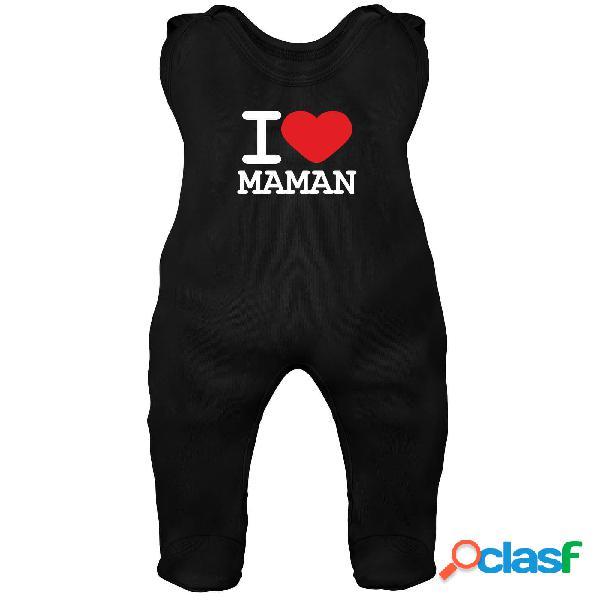 Grenouillère bébé avec inscription: i love maman - noir 2-3 mois