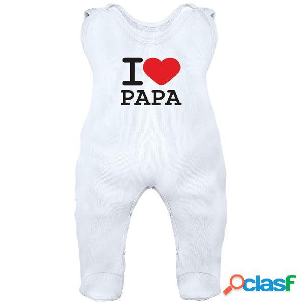 Grenouillère bébé avec inscription: i love papa - blanc 0-1 mois