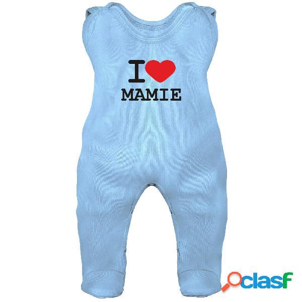 Grenouillère bébé imprimé: i love mamie - bleu 0-1 mois