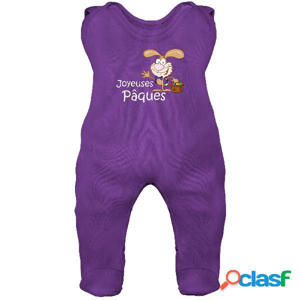 Grenouillère bébé: joyeuses pâques (7 couleurs disponibles) - violet 6-12 mois