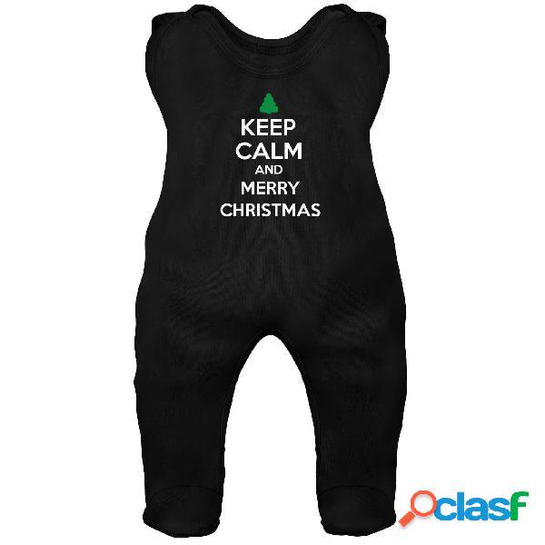 Grenouillère bébé: keep calm and merry christmas - noir 3-6 mois