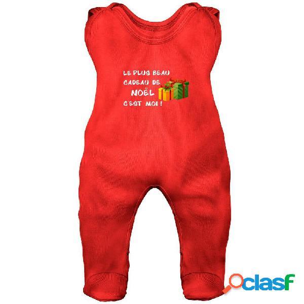 Grenouillère bébé: le plus beau cadeau de noël c'est moi ! - rouge 2-3 mois