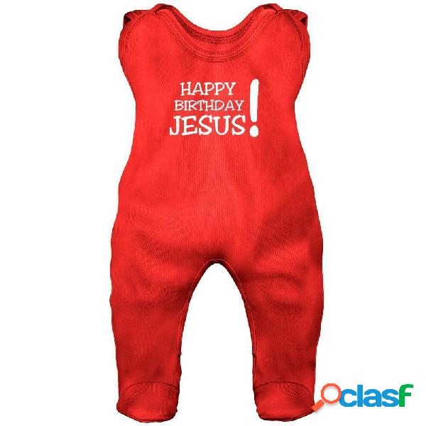 Grenouillère bébé noël: happy birthday jesus! (7 couleurs) - rouge 0-1 mois