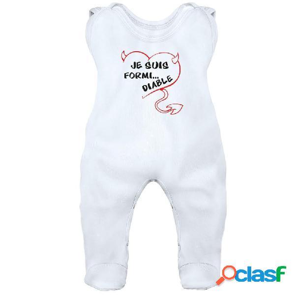Grenouillère bébé drôle: je suis formi... diable (7 couleurs) - blanc 6-12 mois