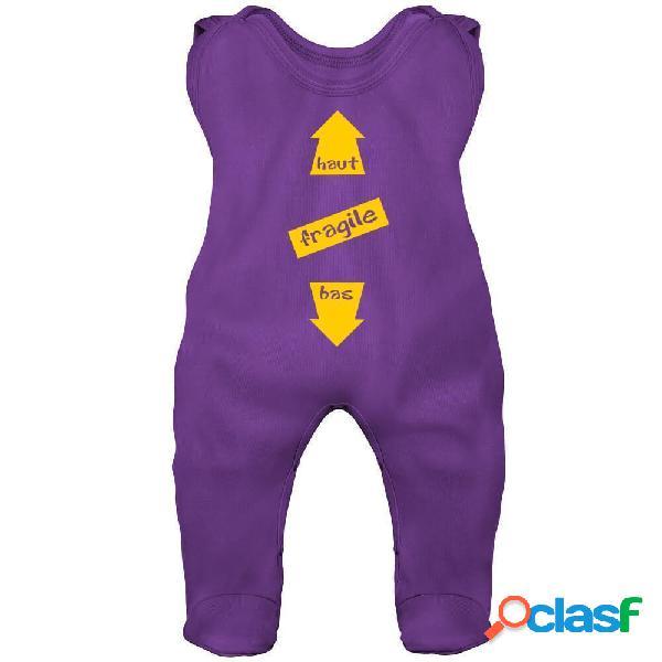 Grenouillère bébé humour: fragile (7 couleurs) - violet 6-12 mois