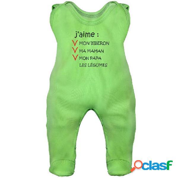Grenouillère bébé humour: j'aime mon biberon (7 couleurs) - vert 3-6 mois