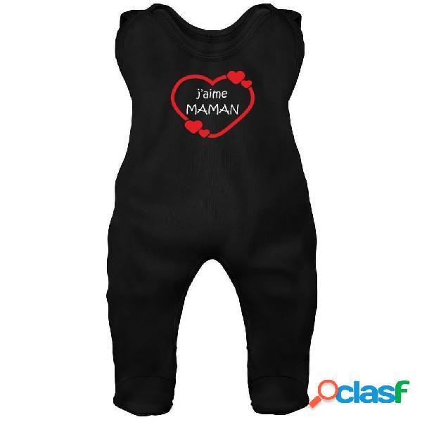 Grenouillère bébé imprimée: j'aime maman (7 couleurs) - noir 3-6 mois