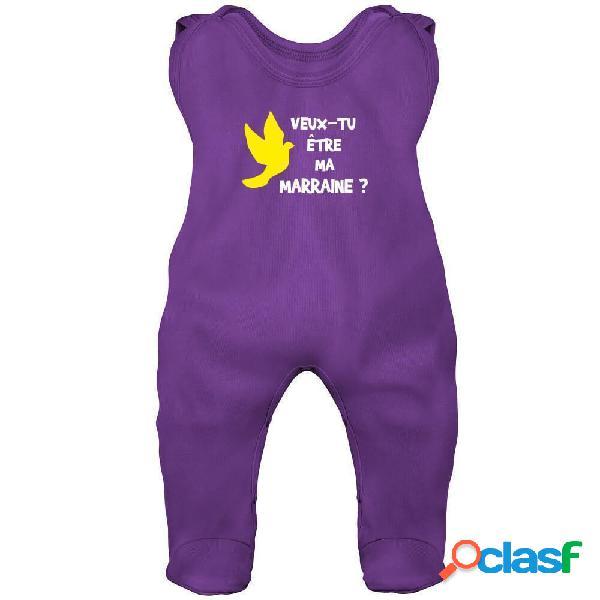 Grenouillère bébé originale: veux-tu être ma marraine ? - bleu 6-12 mois