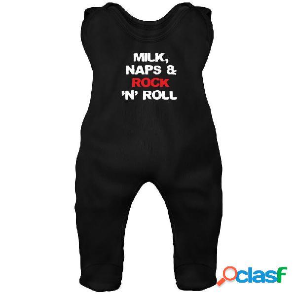 Grenouillère bébé rock: milk, naps & rock n roll - bleu 3-6 mois