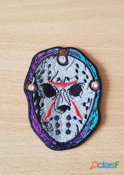 ecusson brodé masque de Jason vendredi 13 thermocollant, pas besoin de couture 8,5x6 cm