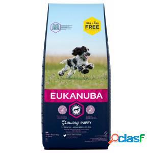 Eukanuba growing puppy medium breed au poulet pour chiot 3 x 3 kg