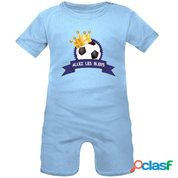 Barboteuse bébé: ballon avec couronne - allez les bleus ! - blanc avec bords rouges 0-1 mois
