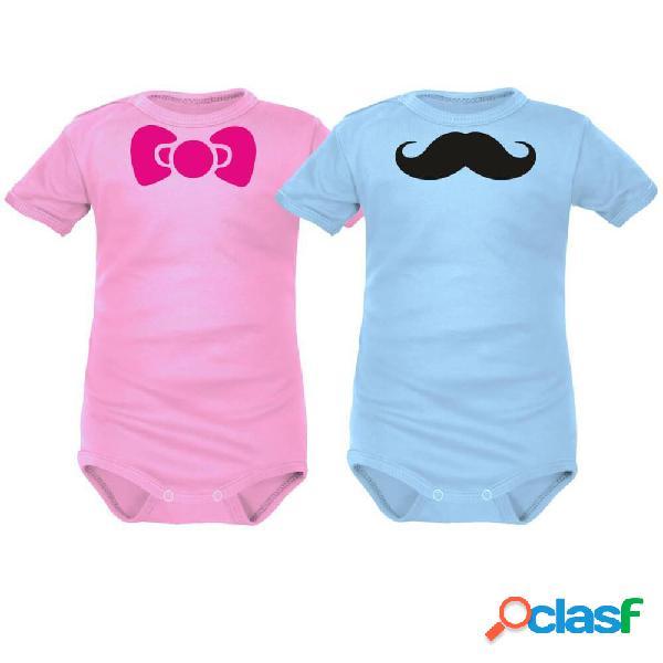 2 bodies bébé jumeaux à personnaliser: cocarde / moustache