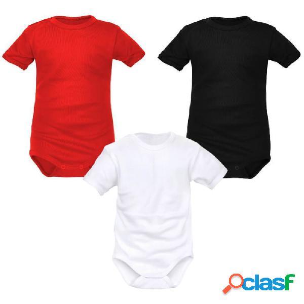 Lot de 3 bodies bébé unisexes manches courtes (3 couleurs) - 4-6 mois