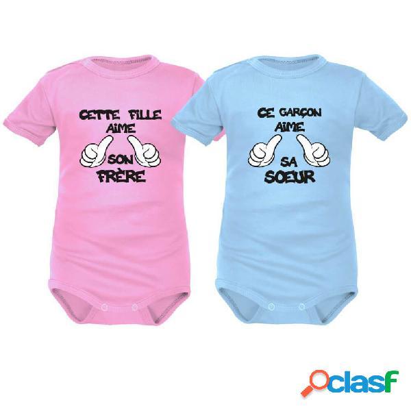 2 bodies bébé jumeaux: cette fille / ce garçon aime son frère / sa soeur