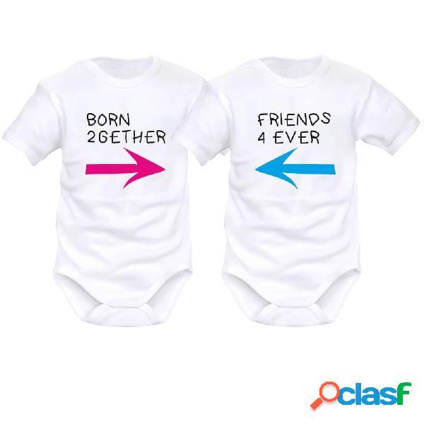 2 x body bébé jumeaux: born 2gether / friends 4 ever