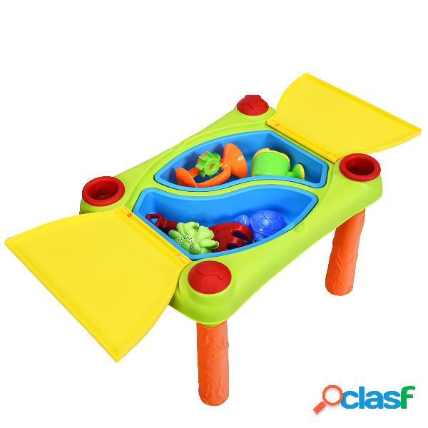 Costway 2 en 1 table sable et eau pour enfants table d'activité avec de nombreux accessoires(18pcs) âge applicable 3 ans et plus