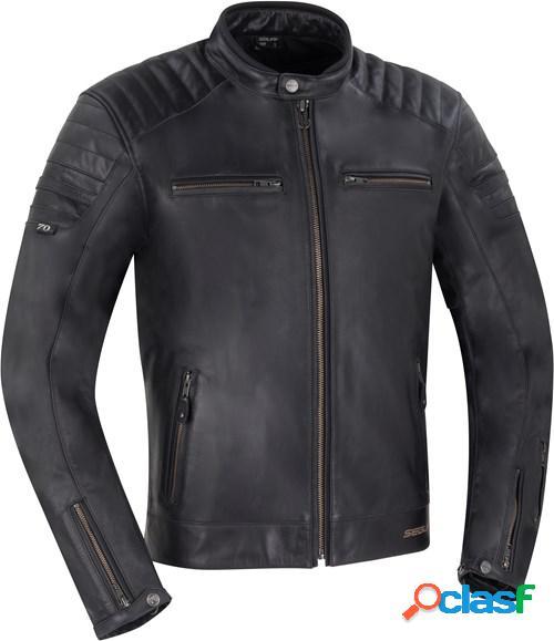 Segura stripe black edition, veste moto cuir hommes, noir