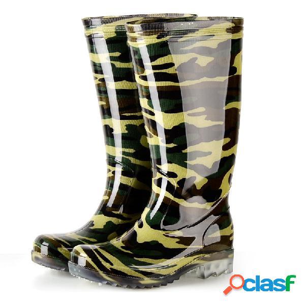 Bottes de pluie camouflage imperméables hautes pour hommes