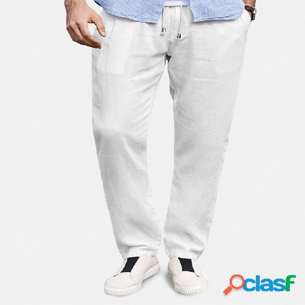 Pantalon taille élastique droite léger respirant 100% coton pour homme yoga