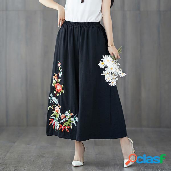 Pantalon large en coton et lin en vrac pour femmes, taille large, pantalon taille élastique