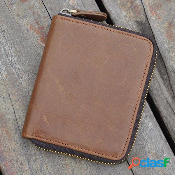 Sac à main trifold vintage en cuir véritable pièce de monnaie pour les hommes