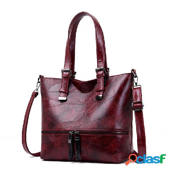 Vintage faux cuir grande capacité sac à main sac fourre-tout sac à bandoulière pour les femmes