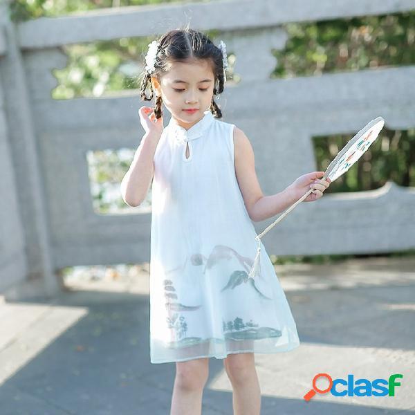 Robes de filles peinture de paysage robe princesse cheongsam