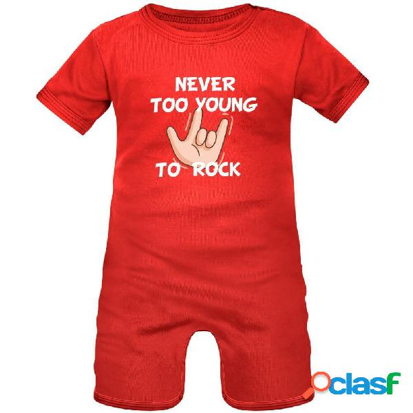 Barboteuse bébé originale: never too young to rock - rouge 3-6 mois
