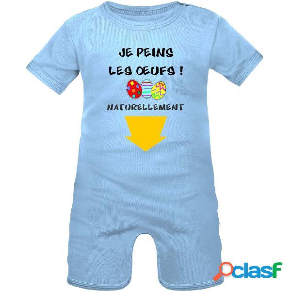 Barboteuse bébé rigolote de pâques: je peins les oeufs - bleu 0-1 mois