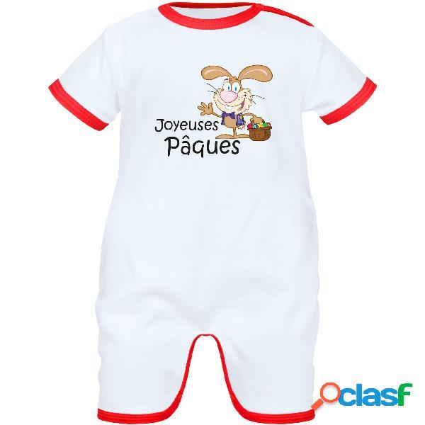 Barboteuse bébé rigolote: joyeuses pâques - blanc avec bords rouges 6-12 mois