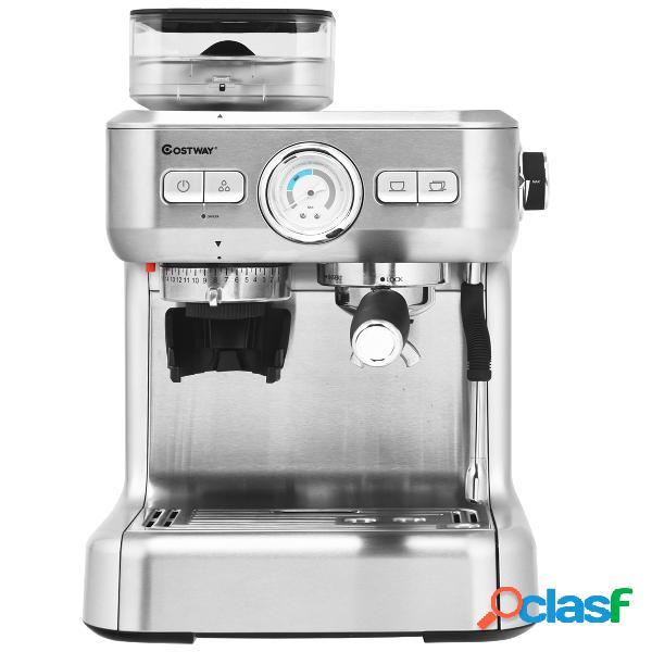 Costway machine à café automatique avec broyeur à grains 1350w 30 niveaux de poudre de café réglables température réglable