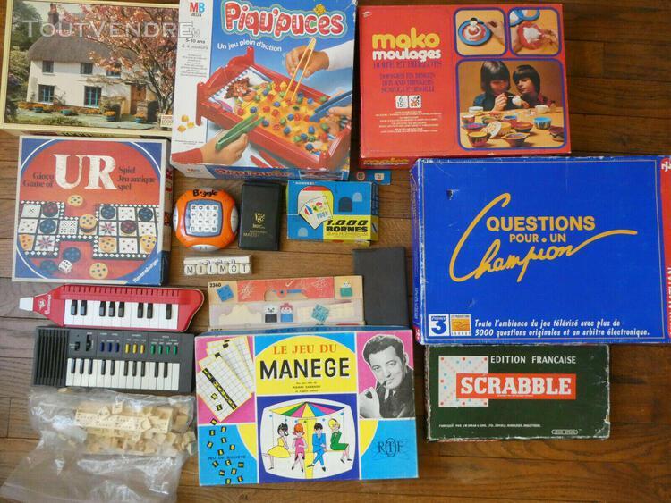 Lot de jeux anciens mako scrabble puzzle ur 1000 bornes mast