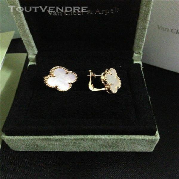 Van cleef & arpels vca vintage alhambra mop earrings 18k yel