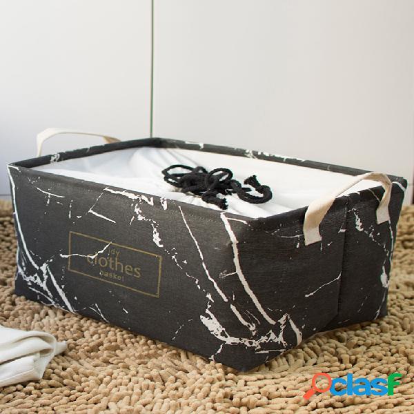 Marbre anti-poussière grande boîte de finition pliable épaisse coton lin art vêtements panier de rangement