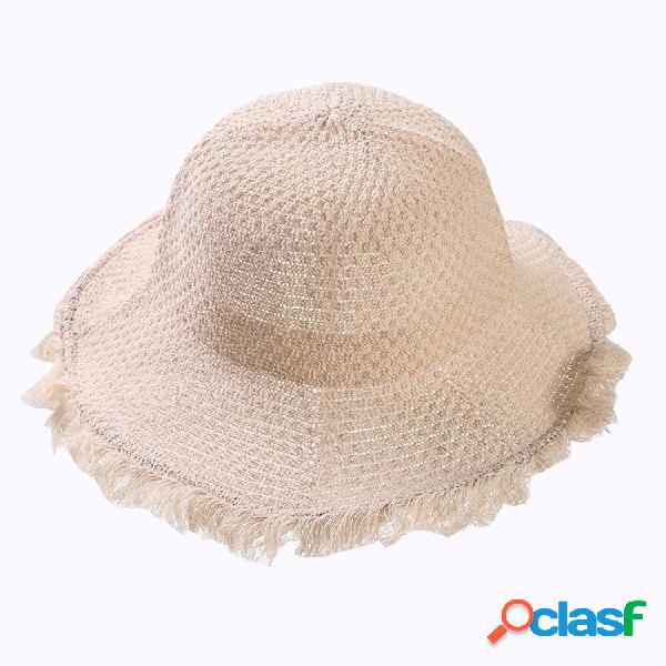 Chapeau de soleil pliable pour femmes sun lin lin beach sun hat