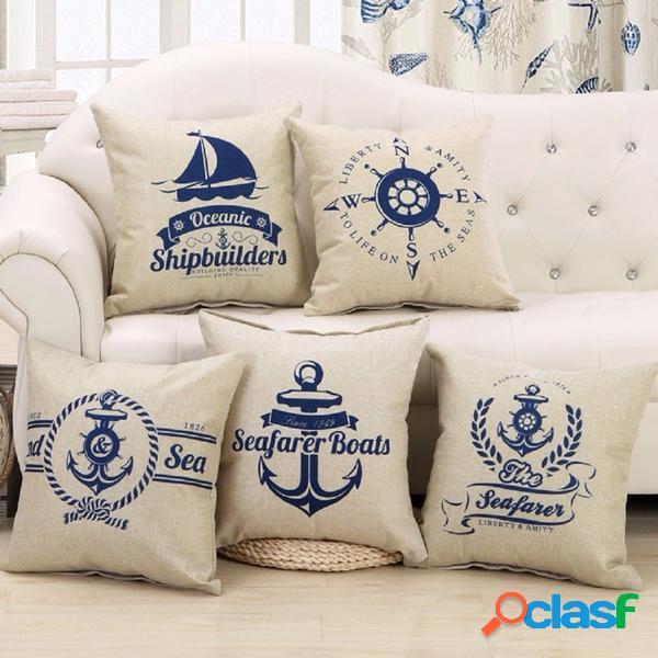 5 motifs de style méditerranéen mode coton lin taie d'oreiller beige décor de canapé à la maison