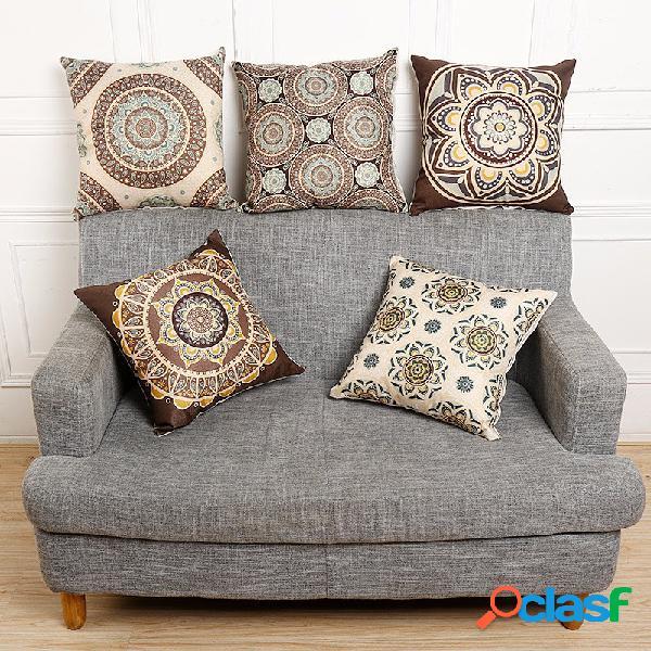 Housse de coussin vintage à motif fleur en coton lin pour maison sofa voiture décoration