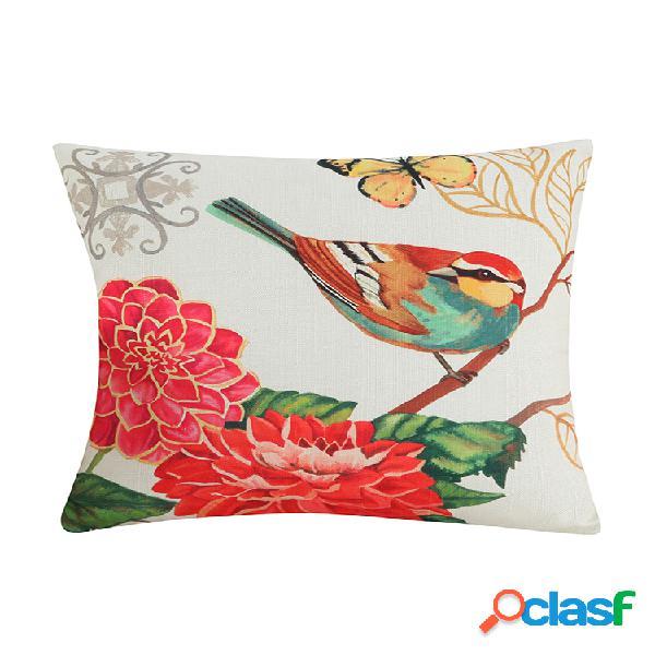 Coton lin colorful peinture oiseaux housse de coussin de voiture décoratif taie d'oreiller