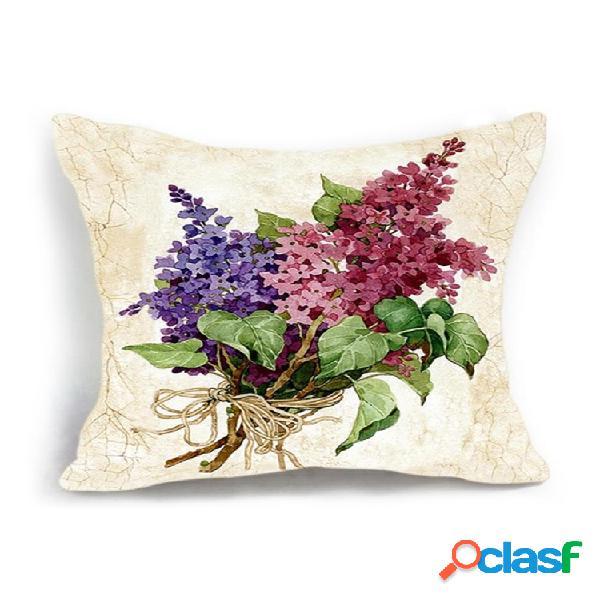 Décoration de la maison housse de coussin de luxe vase à fleurs motif vintage taie d'oreiller en lin de coton