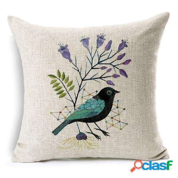 Housse de coussin à 7 motifs de fleur et d'oiseau 45x45cm en coton lin