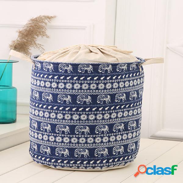 35x45cm panier rangement imperméable durable rangeant vêtement housse blanchisserie haute capacité large en coton et lin boîte ménage