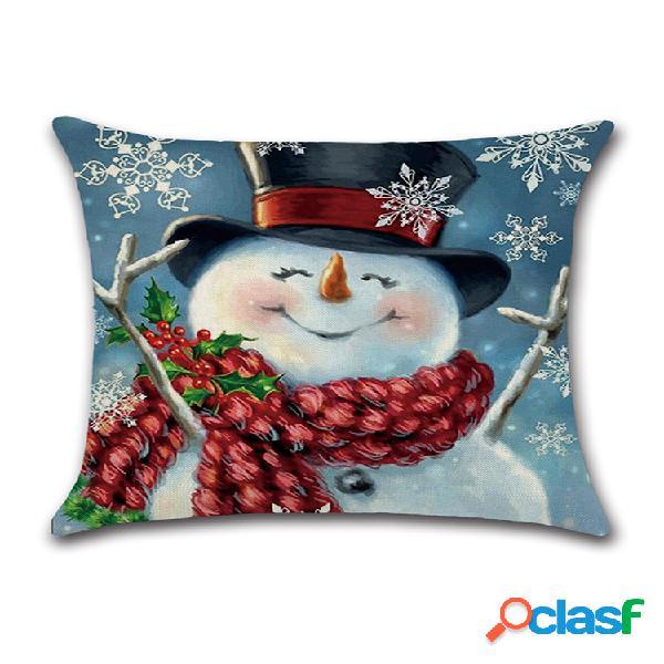 Noël bonhomme de neige impression coton lin housse de coussin taie d'oreiller décorative à la maison