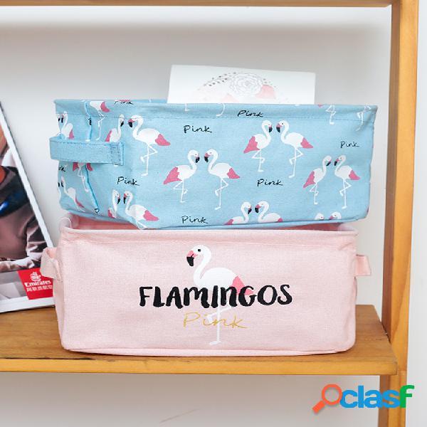 Boîte de rangement de bureau pliable en coton et lin série flamingo